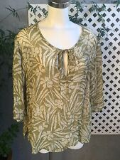 AVENUE Womens Green Rayon Floral Tunic Top Blouse 3/4 Sleeve Plus Sz 22/24