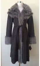 NWT BADGLEY MISCHKA American Glamour Grey Faux Suede & Faux Fur Coat M (6 to 8)