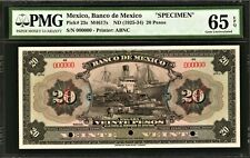 Mexico 20 Pesos ND (1925-34) SPECIMEN M4617s Pick-23s GEM UNC PMG 65 EPQ