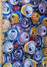 Soda Pop Cans Fabric Fat Quarter Benartex 100% Cotton FIzz Ed Drinks Novelty
