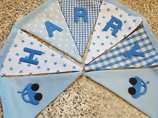PERSONALISED BUNTING-BLUE STAR FABRIC  MIX WITH CARS-£1 PER FLAG, FREE P&P