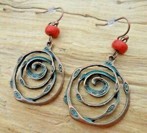 Swirl Spiral Cutout Copper Effect & Turquoise Beaded Hook Earrings 2.5cm NEW