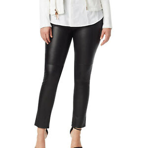 ASHLEY GRAHAM X MARINA RINALDI Women's Black Eboli Leather Pants $1060