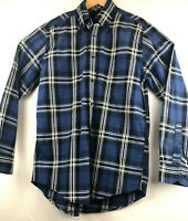 Tommy Hilfiger Mens Long Sleeve Button Down Collar Blue Plaid Casual Shirt Small