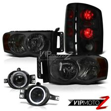 2002-2005 Dodge Ram SMOKE HeadLight Sinister Black TAIL LIGHT HALO FOG LIGHT