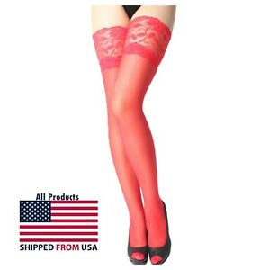 Women Sexy Red Lingerie Fishnet Lace Mesh Cosplay Stockings Panty Tights Thigh