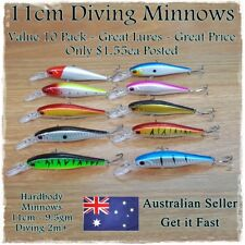 10 Minnow Fishing Lures Trout, Redfin,Yellowbelly, Bream, Salmon, Flathead Jacks