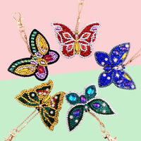 EE_ RHINESTONE BUTTERFLY DIAMOND PAINTING PENDANT KEYRING KEY CHAIN CHARM DECOR