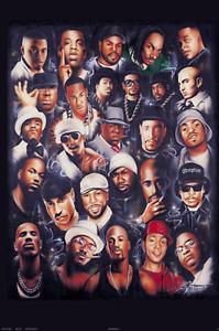 Rap Legends Collage Poster 24x36 Hip Hop Tupac Biggie E40 Snoop Dog Jay-Z RARE