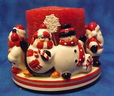 Snowman Candle Ring Holder For Pillar with candle