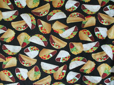 Realistic Taco Tacos Deluxe Snacks Food Cotton Fabric BTHY