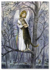 CAT and ANGEL on tree in Park Fantasy ART Russian Modern Postcard