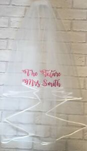 Personalised Hen Party Veil Bride To Be Future Mrs Any Name Party Gift Pink