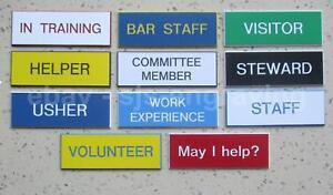 Engraved ID Name Badge - Volunteer Helper Staff Committee Steward Visitor Usher
