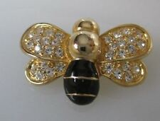 VINTAGE GOLD-TONE BUMBLE BEE PIN/BROOCH WITH BLACK ENAMEL AND CLEAR RHINESTONES