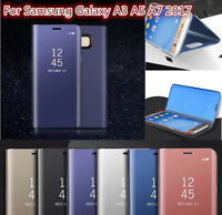 For Samsung A3/A5/ A7 2017 Luxury Mirror Window View Flip Leather Case Cover new