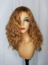 "EUROPEAN WAVY HUMAN HAIR WIG (Never Permed) Golden Blonde. 20"" long. Hand Made."