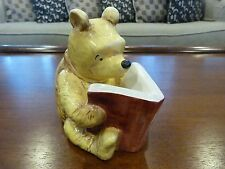 Vintage Classic Pooh Ceramic Winnie the Poo Reading a Book Piggy Bank, By Disney