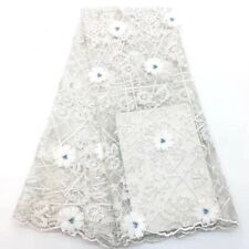 Gorgeous White African Lace Fabric 3D Flowers Beaded French Tulle Mesh 1yard