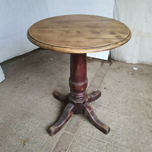 vintage,small,round,wood,side,end,pedestal,table,dining table,pub table,quad
