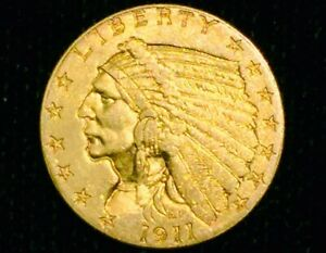 1911 $2.50 Gold Indian Quarter Eagle A/U+