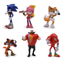 Sonic The Hedgehog Character Knuckles Tails 6 PCS Action Figure  Toy Doll Set