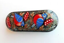 Bullfinches red blue couple Birds russian reading glasses case hand painted hard