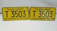 Vintage 1958 Matched Set Of Minnesota License Plates 10,000 Lakes