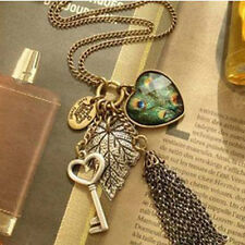 Women Vintage Heart Key Peacock Leaf Tassel Pendant Long Sweater Chain Necklace