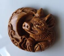 LUCKY BOAR TOTEM CARVING RIBBON JASPER GEM PENDANT