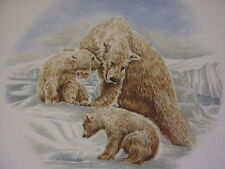 """Decorative ceramic tile, white background with brown bears on it; 6"""" x 6"""""""