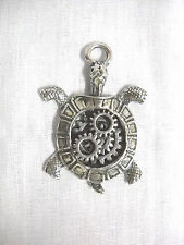 STEAMPUNK LAND BOX TURTLE GEARS in SHELL TOP PEWTER PENDANT ON ADJ CORD NECKLACE