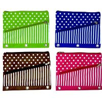 Pencil Case 3 Ring Binder Pencil Pouch with 2 Zipper Pockets Nylon Fabric 4-Pack