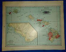 Vintage 1909 Tunison Atlas Map ~ HAWAII - HAWAIIAN ISLANDS Old Original Free S&H