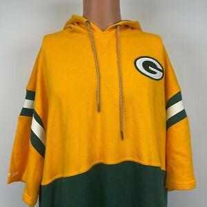 Mitchell And Ness Green Bay Packers Short Sleeve Fleece Hoodie Sweatshirt 3XL