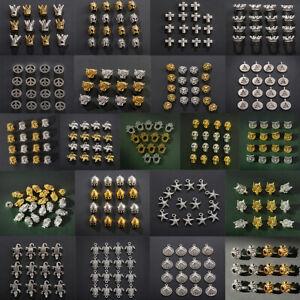 10 Pcs Silver Gold Crown Helmet Buddha Head Bracelet Connector Charm Loose Beads