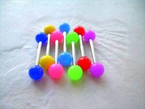 "1 PIECE 14g 5/8"" Neon Color UV Acrylic Tongue Nipple Barbell Ring 6MM Balls"
