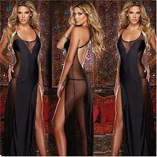 Hot Black Women Sexy Intimate Mesh Long Dress Lingerie Sleepwear Babydoll Robes