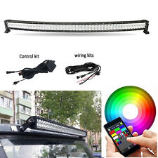 """50"""" 288W 5D CREE LED Curved RGB Light Bar Multi-Color Changing Offroad Bluetooth"""