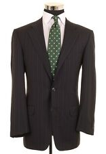 Ermenegildo Zegna Trofeo Wool Dark Navy & Gray Stripe 2pc Suit Jacket Pants 38 R