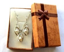 925 Sterling Silver White Pearl Pendant Necklace Earring Jewelry Set, Boxed Gift