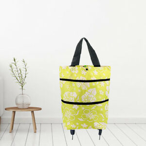 Shopping Push Cart Box With Wheels Luggage Bag Printed Tidy Grocery Bags