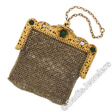 Diamond Etched Foliate Mesh Coin Purse Antique Solid 18k Gold 1.95ct Emerald &