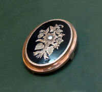 Wunderbare Biedermeier MEDAILLON-BROSCHE für Fotos u.a. ~1870 • Emaille Echtglas