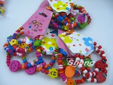 50 PCS Mixed Colorful Children Gift Wood Wooden kid Bracelets Random Style