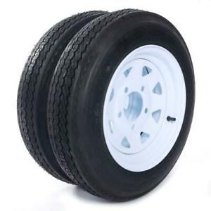 "2 x Tires with 2 White Rim 4PLY Trailer 4.80-12 480-12 12"" 5 lugs on 4.5"" Center"