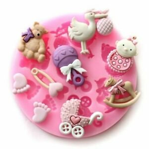 Silicone Baby Shower Cake Fondant Molds Mold Soap Candle Moulds SugarCraft Tool