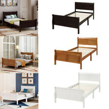 Twin Bed Wood Platform Bed Frame with Headboard/Footboard/Wood Slat Support