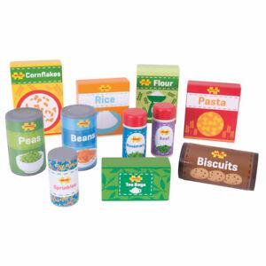 Bigjigs Toys Wooden Cupboard Groceries Pretend Play Food Roleplay Set