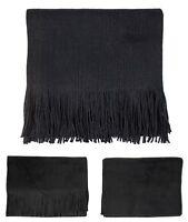 New Mens Womens Unisex Knitted Plain Black Winter Scarf Neck Warmer Fleece UK